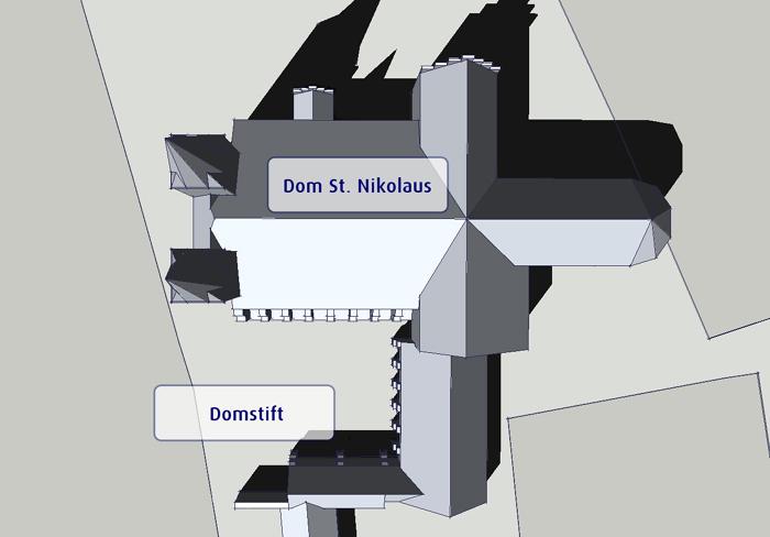 Lage des Domstiftes südlich des Stendaler Doms